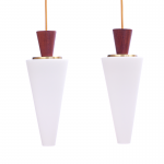 Danish cone-shaped teak and frosted glass pendants