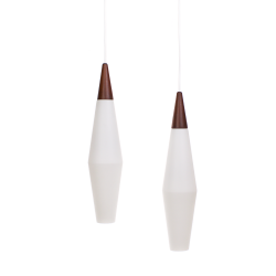 *SOLD* Holmegaard teak frosted glass pendants