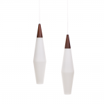 Holmegaard teak frosted glass pendants