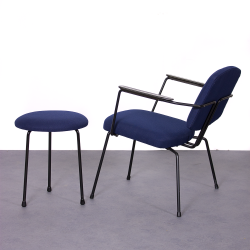 Vintage Rudolf Wolf for Elsrijk easy chair and stool